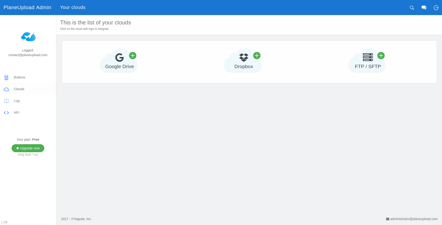 Admin Panel - Connecting cloud