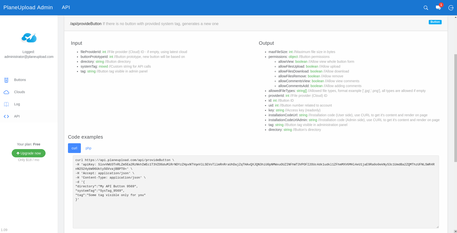 Admin Panel - API