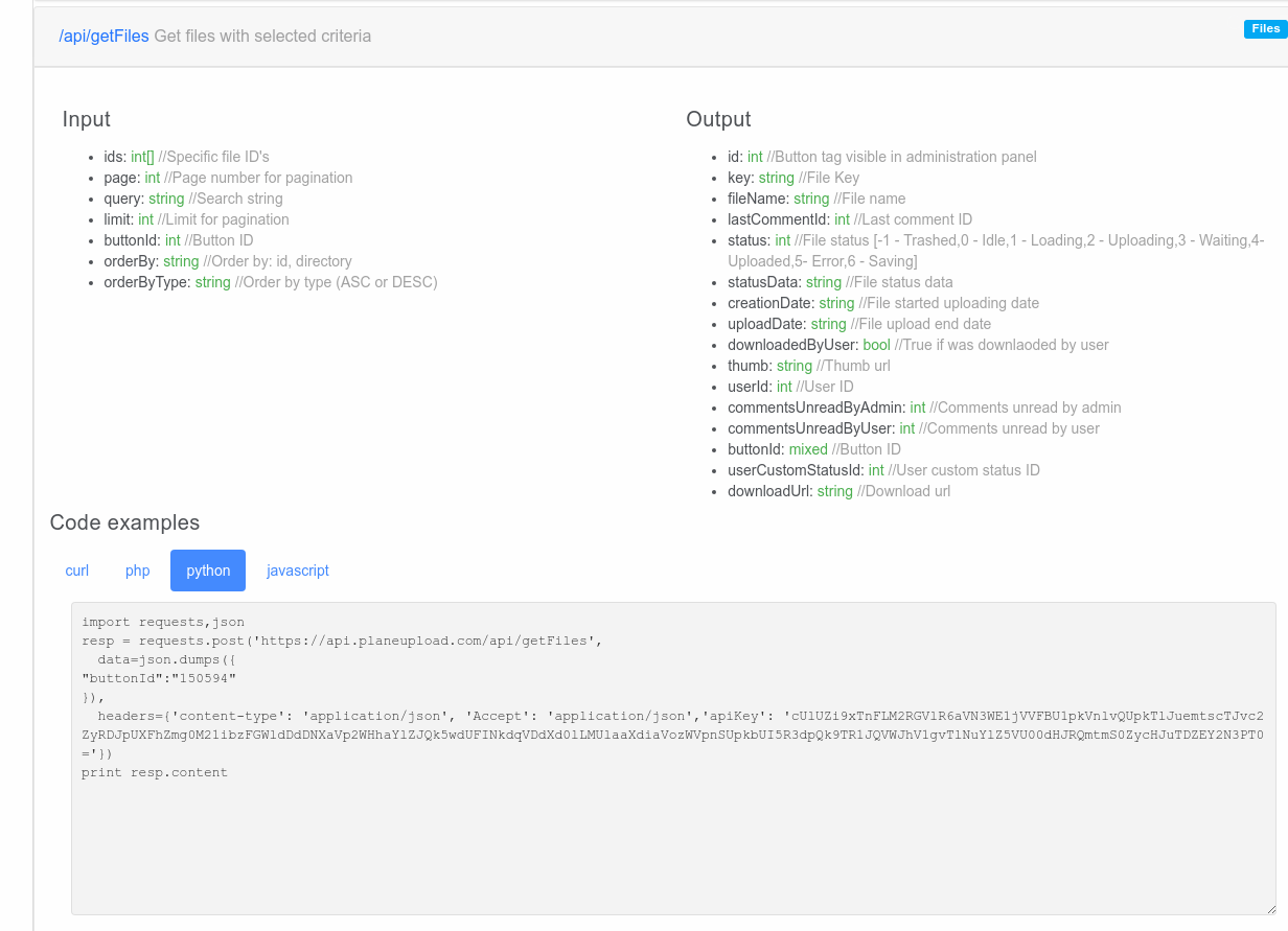 Python and Javascript (NodeJS) examples now available in the